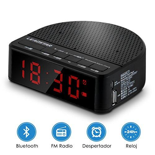Altavoz Bluetooth, Altavoz Inalámbrico Portátil con Radio funcion para Smartphones, Tablets y Dispositivos MP3 (5W , Reloj del Dormitorio, Reloj Despertador Musical, Soporte Móvil, Radio FM, Bluetooth4.2, 3.5mm AUX/ Tarjetas TF entrada