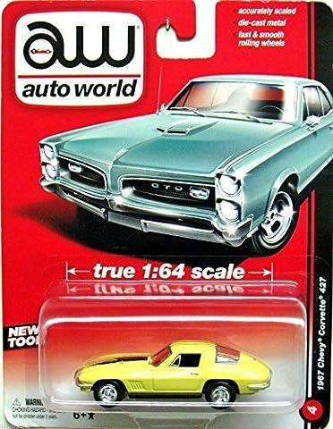 Chevrolet Corvette Stingray 427, light yellow/black, 1967, Model Car, Ready-made, car World 1:64 by Auto World