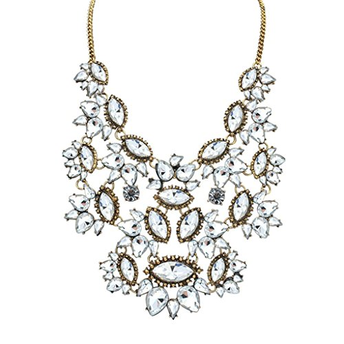 Epinki Damen Vergoldet Halskette, Damenkette Statementkette Choker Tropfen Träne Anhänger Kette mit Zirkonia (Haar Kostüm Alien)
