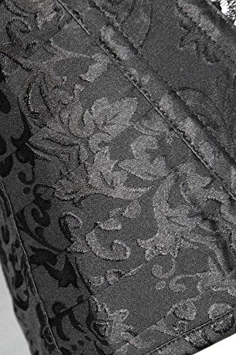Charmian Women's Brocade Steampunk Embroidery Zipper Steel Boned Overbust Corset Nero
