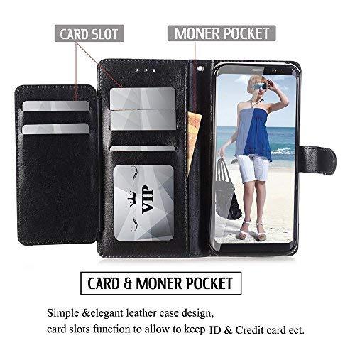 Galaxy S8Active Schutzhülle, Daker Wallet Case Premium PU Leder Card Schutzhülle mit Card Slot + Seitentasche Magnetverschluss Schutzhülle für Samsung Galaxy S8Active, Schwarz Htc Wand