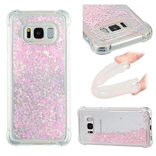 SHYHONG Kompatibel Samsung Galaxy S8 Hülle+5D gehärtetem Glas Dynamischer Treibsand Transparent TPU Silikon Handyhülle Vier Eckluftkissen Schutzhülle Anti-Shock Bumper Cover(SilberRosa)