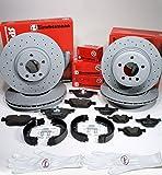 Autoparts-Online Set 60012953 Zimmermann Sport Bremsscheiben Belüftet Gelocht Coat Z Bremsen + Bremsklötze + Handbremse Zubehör für Vorne + Hinten