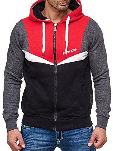 Rusty Neal Kapuzenpullover Sweatshirt Zipper Jacke Pullover Hoodie RN-19043 NEU Rot