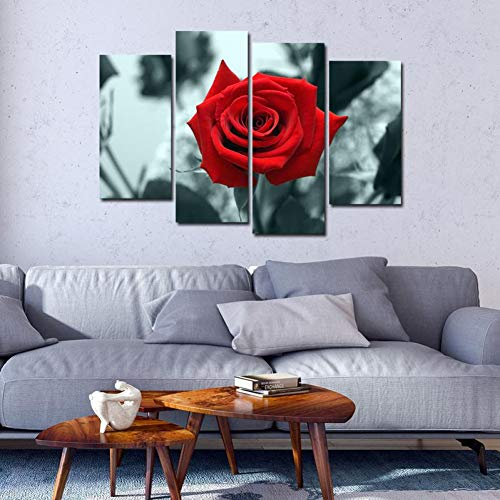 HUDEHUA Malerei Wandkunst Abstrakte Dekorative Schöne Rote Rose - 4 Stück Malerei Modulare Bilder Für Wohnzimmer Schlafzimmer Kein Rahmen -