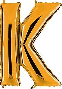 Grabo 302G-P Letra K Globo Superloon paquete individual, largo-40 pulgadas, color, oro, talla única