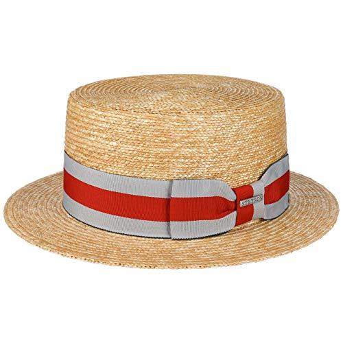 Stetson Wheat Boater Kreissäge Strohhut Sommerhut Sonnenhut Matelot Damen/Herren | mit Ripsband Frühling-Sommer | M (56-57 cm) Natur (Herren-stroh-boater Hut)