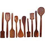 Crafts A To Z Multipurpose Serving And Cooking Spoon Set For Non Stick Spoon For Cooking Baking Kitchen Tools Essentials Wooden Non Stick Spatulas , Ladles Mixing And Turning ,Mixing And Turning Pure Sheesham Wooden Spoon Set Of 10 Pc. Ideal For Non Stick