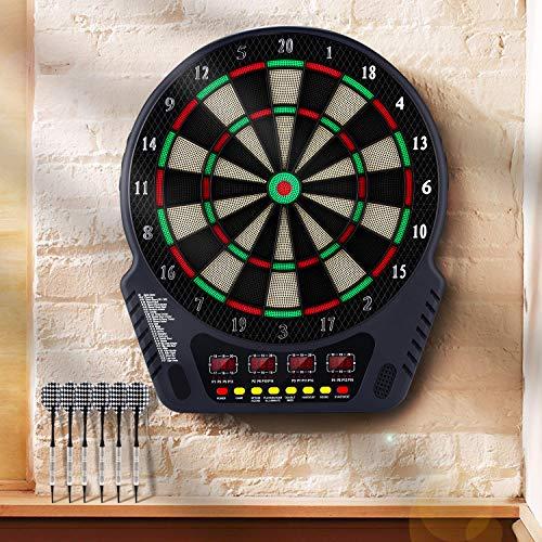Laiozyen Elektronische Dartscheibe Dardboard mit 4 LCD-Anzeige, 6 Dartpfeilen| 27 Spiele mit 243 Spieloptionen Profi Elektronik Dartspiel E Dartautomat (Typ 1) -