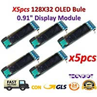 TECNOIOT x5pcs 0.91 Inch Blue 128X32 OLED LCD LED Display Module  5 unids 0.91 Pulgadas 128x32 IIC I2C Pantalla OLED LCD Azul DIY Módulo OLED SSD1306 Driver IC DC 3.3V 5V para Arduino