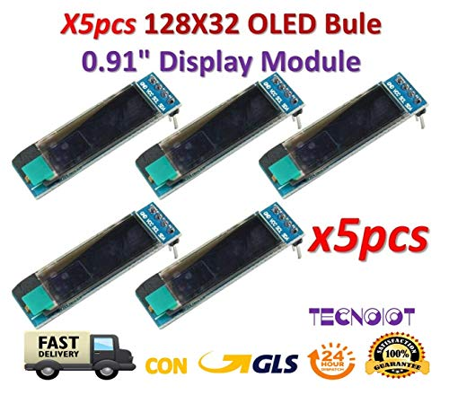 TECNOIOT x5pcs 0.91 Inch Blue 128X32 OLED LCD LED Display Module| 5 unids 0.91 Pulgadas 128x32 IIC I2C Pantalla OLED LCD Azul DIY Módulo OLED SSD1306 Driver IC DC 3.3V 5V para Arduino