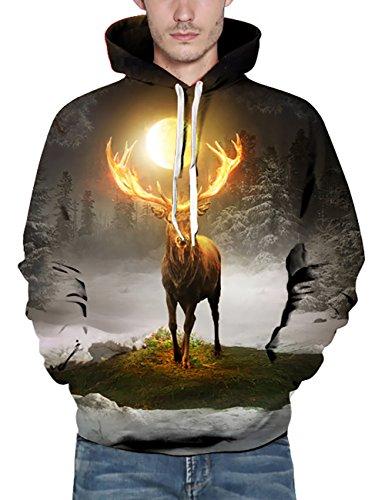 KamiraCoco Herren Kapuzenpullover 3D Druck Muster Hoodie Weihnachten Halloween Sweatshirt Pullover Sternenhimmel Antilope