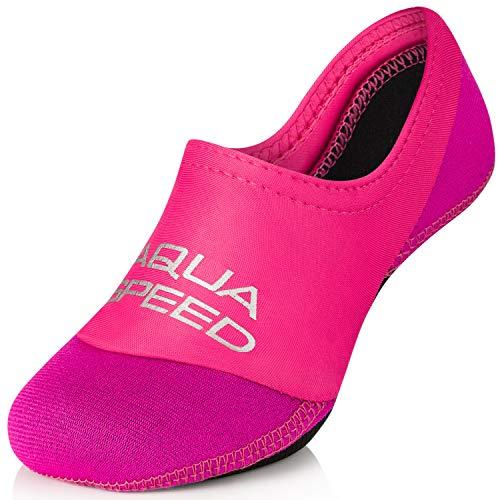 Aqua Speed Aquasocken Mädchen Kinder I Diving Socks Kids Girls I Neoprensocken rutschfest | Wasser Socken elastisch leich I Strandsocken I Schwimmen I Baden I 24/25, Pink/Hell Pink I Neo