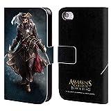 Head Case Designs Offizielle Assassin's Creed Black Beard Schwarze Fahne Darsteller Brieftasche Handyhülle aus Leder für iPhone 4 / iPhone 4S