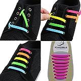 SCHNÜRRLIE Elastische Silikon Schnürsenkel - Der perfekte Schnürbänder Ersatz für Sneaker Turnschuhe Sportschuh (16 Stück Beere)