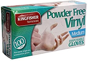 Kingfisher 100 Pack Powder Free Vinyl Disposable Gloves - Med (KGV6)