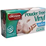 Kingfisher 100 Pack Powder Free Vinyl Disposable Gloves - Med (KGV6)