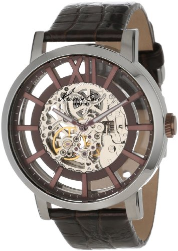 Kenneth Cole Men's 46mm Brown Calfskin Band Steel Case Automatic Silver-Tone Dial Analog Watch KC1921