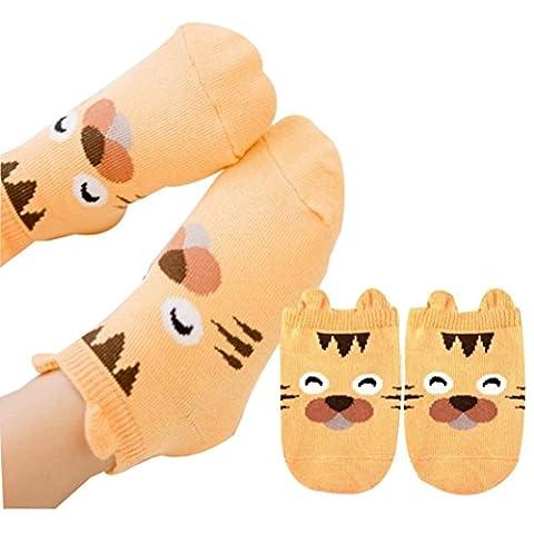 Baby Socken Transer® Unisex Mädchen/Jungen Kleinkind Neugeborene Kinder Karikatur Huhn Tiger Schwein Socken für 0-2 Jahre alt (13 Monate-2 Jahre alt, (Gestreifte Verbandsmull)