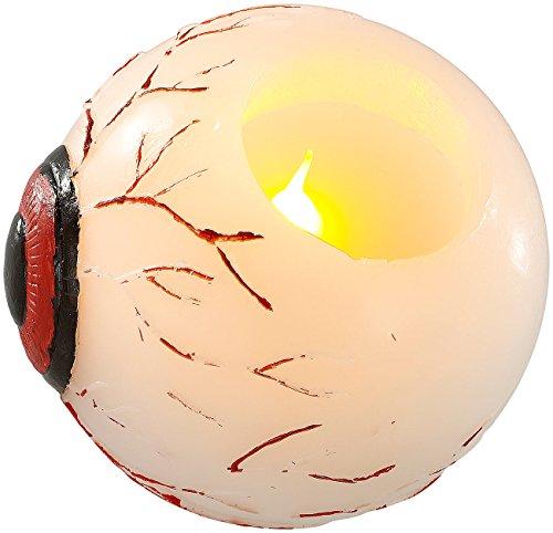 Lunartec Halloween-Teelicht LED: Halloween LED-Echtwachs-Kerze im Augendesign (Halloween-Kerzenlicht -