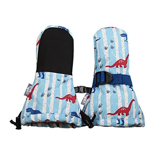 JAN & JUL JAN & JUL Wasserdichte bleib dran Fäustlinge für Babys Kleinkinder und Kinder(XS:0-2Y, Kein Daumen: Blau Dinosaurier)