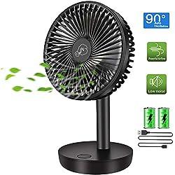 COMLIFE Ventilateur de Table | Ventilateur USB 3 Vitesses | Oscillation Automatique 90 °| 17,5 Heures au Maximum | Batterie 4400 mAh | Ventilateur Puissant et Silencieux pour La Maison,Le Bureau