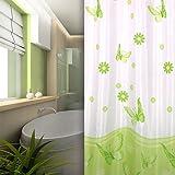 KS Handel 24 Textil Duschvorhang 240x200 cm / Weiß Grün Schmetterling