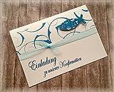 Einladung Einladungskarte Kommunion Konfirmation Firmung Taufe Fisch christliche Symbole petrol dunkel türkis