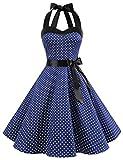 Dresstells Neckholder Rockabilly 50er Polka Dots Punkte 1950er Kleid Petticoat Faltenrock Navy White Dot L