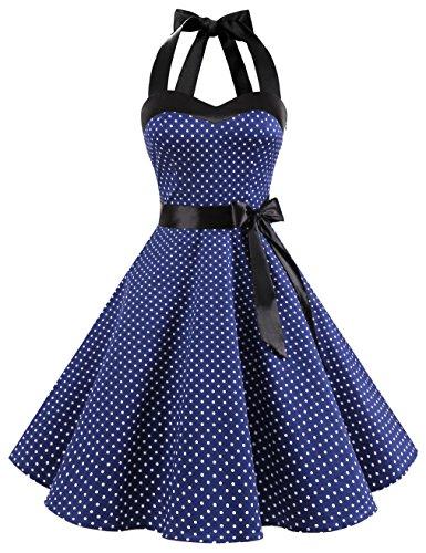 Dresstells Neckholder Rockabilly 1950er Polka Dots Punkte Vintage Retro Cocktailkleid Petticoat Faltenrock Navy White Dot XL -