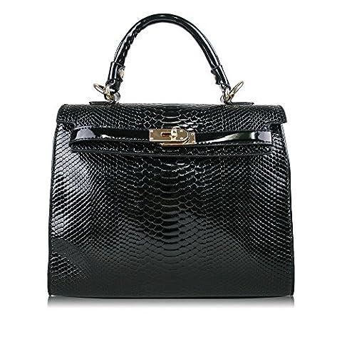 Elegant PU Faux Patent Snakeskin Leather Studded Bow Designer Inspired Handbag (Twist Lock Black)
