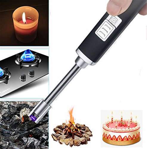 JIM'S STORE Electric Arc Accendino, USB ricaricabile senza fiamma candela Lighter no Fuel Lighter per cucina Barbecue campeggio casa cucina stufa barbecue camini, cavo USB incluso (Nero)