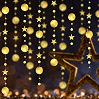 AFASOES 4 Set Gold Star Garlands Kit Twinkle Little Stars theme Party Decor Circle Garland Bunting Banner Decorations Metallic Matt Star Christmas Garland for Birthday Wedding Christmas(157inch/Set)