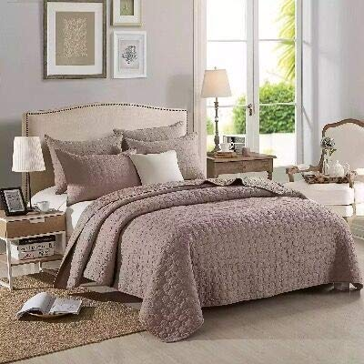 WSF-quilts, Solide Übergröße Tagesdecke Bettdecke Kreis Muster Tröster 100% Baumwolle Quilt Mit 2 stücke Kissenbezüge Heimgebrauch Bett Set (Color : Coffee, Size : 230x250cm) -