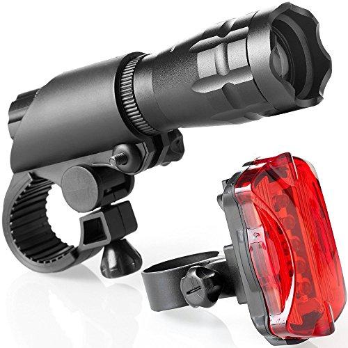 Marico Nahum Fahrrad Licht Set, Super Bright 200 Lumen und Free Bike Rücklicht Helmlicht, Wasserdichter Fahrradscheinwerfer und Rücklicht, Einfach zu Montierende Passform für Mountain Road Kids Bikes