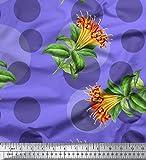 Soimoi Lila Baumwoll-Voile Stoff Punkt, Blättern Zwerg
