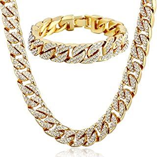 Trendsmax Curb Kubanischen Link Damen Herren Halskette Armband Kette Set Iced Out Hip Hop Pflastern Strass Gold überzogen 14mm Bling Schmuck
