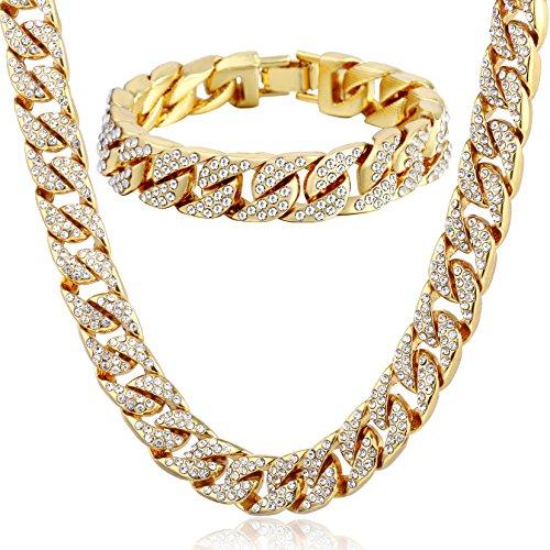 Trendsmax Curb Kubanischen Link Damen Herren Halskette Armband Kette Set Iced Out Hip Hop Pflastern Strass Gold Gefüllt 14mm Bling Schmuck (Gold Gefüllt Kette)