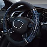 ZHAS Copri Volante per Auto Modello Coccodrillo Copertina per Volante Auto in Microfibra Universale Antiscivolo Custodia per Volante Universale Quattro Stagioni per Volante (Colore: Blu-B)