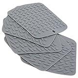 Oxid7 Topf-Untersetzer aus Silikon  5er Set  Hitzebeständig  Spülmaschinenfest  Topflappen flexibel 18 x 17 cm  Farbe: Einfarbig Grau