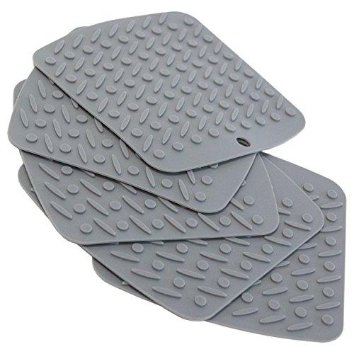 Oxid7® Topf-Untersetzer aus Silikon | 5er Set | Hitzebeständig | Spülmaschinenfest | Topflappen flexibel 18 x 17 cm | Farbe: Einfarbig Grau