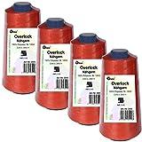 4 Stück Spulen Overlock - Nähgarn, rot, a. 2500 m, Nr. 120/2, 100% Polyester, Nähfaden, Nähmaschinen Garn, 3009-4er