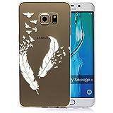 tinxi® silikon Schutzhülle für Samsung Galaxy S6 edge Plus Hülle TPU Silikon Rückschale Schutz Hülle Silicon Case Tasche sehr dünn und leicht nur 0,7mm Dicke weiße Feder