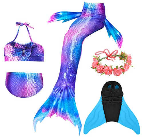 Guter Handwerker Mädchen Meerjungfrauenschwanz zum Schwimmen,Mermaid Tail, für Mädchen, Jungen, Kinder und Erwachsene Monofin Girlande INKLUSIVE (Perfekte Prinzessin, 110) (Prinzessin Für Kleider Erwachsene)