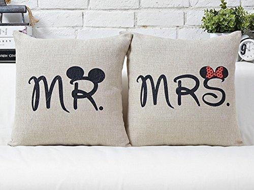 *Miya® Mr & Mrs Micky und Minni liebevolle hochwertige Hochzeit Paar Kissenbezüge aus Baumwoll Sofakissen Kissenbezug Hochzeitgeschenk*