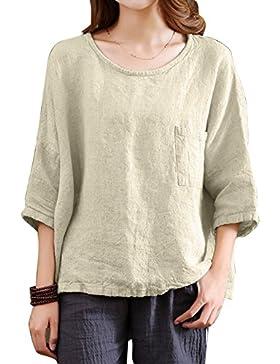 Yying Mujer Pullover Manga 3/4 Camisetas Loose Llanura T-Shirt Oversize Elegante Cuello Redondo Holgado Algodón...