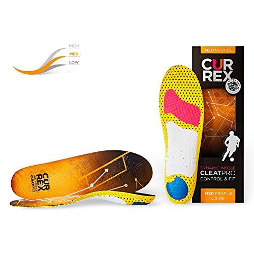 CURREX CleatPro Sohle – Fußball Einlegesohlen für mehr Kontrolle und explosiven Antritt - Dynamische Performance Sport Einlagen für Fußballschuhe oder Stollenschuhe - Medium Profile - Gr EU 34,5-36,5