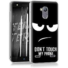 """kwmobile Funda para ZTE Blade V7 Lite (5"""") - Case para móvil en TPU silicona - Cover trasero Diseño Don't touch my phone en blanco negro"""
