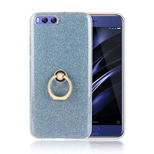 Soft Flexible TPU Back Cover Case Shockproof Schutzhülle mit Bling Glitter Sparkles und Kickstand für Xiaomi 6 ( Color : Black ) Blue