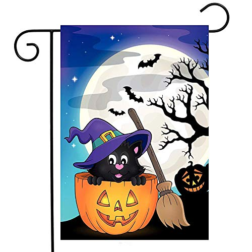 ASKYE Pumpkin Cat Halloween Broomstick Garden Yard Flag Double Sided, Moon Yellow Bat Funny Hat Polyester Welcome House Flag Banners for Patio Lawn Outdoor Home Decor(Size: 28inch W X 40inch H)